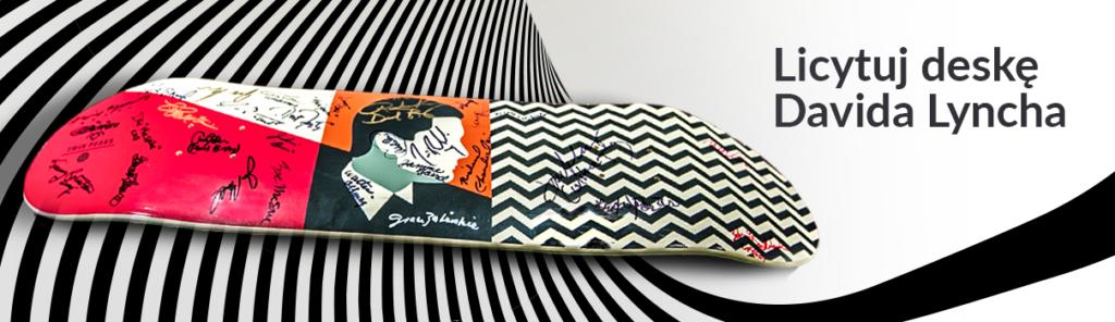 Skateboard z podpisami aktorów i reżyserów serialu Miasteczko Twin Peaks