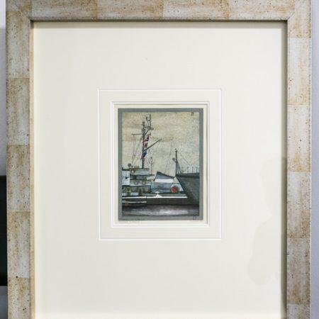 """obraz Krzysztofa Candera """"Trałowce w porcie"""", fot. Andrzej Goiński"""